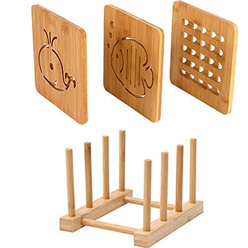 Queta 3pcs Bambus Tischset Topfuntersetzer ,Tischset Hitzebeständig,mit Abtropfgestell ,Natur waschbar Untersetzer Bambus Topflappen für Küche Schüssel Töpfe und Pfannen (16cm)
