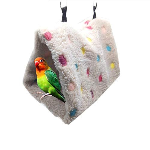 RICISUNG ペットのハンギング 三角ベッド 三角ハウス 鳥たちの寝床 ハンモック 小動物ベッド 暖かい巣 おもちゃ 天然素材 柔らかい 小さなオウムのハンモック 寒さ対策 Mサイズ