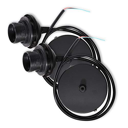 kwmobile 2x Portalámpara E27 con soporte de techo - Casquillos con cable de 80 CM y soporte - Lámparas colgantes con base de fijación - En negro