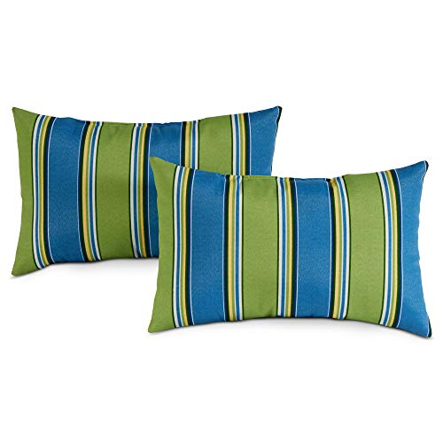 Greendale Home Fashions Rectangle Outdoor Accent Pillows, Set of 4, Cayman Stripe