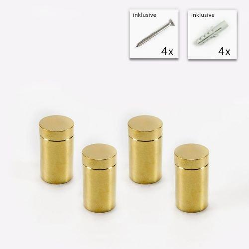 Messing Abstandshalter 13x19 mm, Gold gebürstet im Set, Acrylglas Abstandshalter, PLEXIGLAS® Halter, Glas Halter, Rund