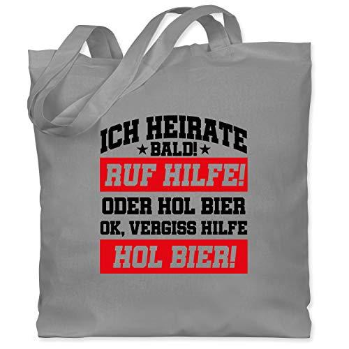 JGA Junggesellenabschied Männer - Ich heirate bald - Ruf Hilfe oder Bier - Hol Bier - Schwarz / Rot - Unisize - Hellgrau - Geschenk - WM101 - Stoffbeutel aus Baumwolle Jutebeutel lange Henkel
