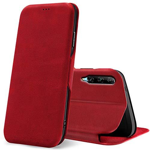 Verco Handyhülle für Huawei P Smart Pro, Honor 9X Pro Bookstyle Premium Handy Flip Cover für P Smart Pro Hülle [integr. Magnet] Book Hülle PU Leder Tasche, Rot