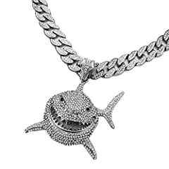 """CONDITION:NEW Pendant Size : 70mm x 60mm Chain : 15mm 16"""" 18"""" 20"""" 24"""" 30"""" Iced Cuban Chain White Gold plated over alloy, Lab Diamond on Pendant High Quality and Polished"""