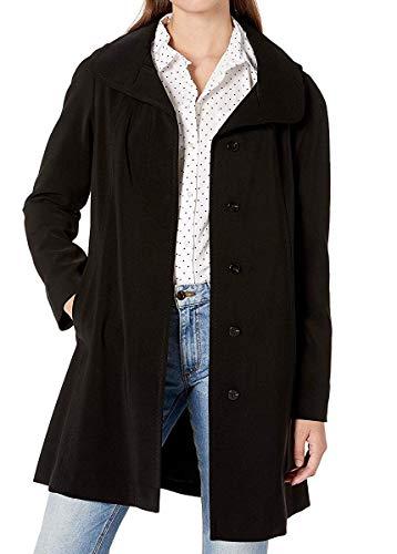 Gallery Women's Petite Dressy A line Polyester Gabardine rain Coat, Black, LP