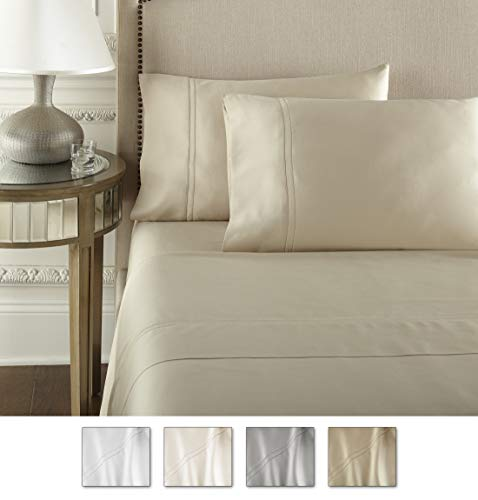 Pure Parima Luxury 100% CEA Certified Egyptian Cotton Sheet Bed Set   Extra-Long Staple   Cool, Breathable, Ultra Comfort   Double Hem-Stitched   Flat, Fitted, and 2 Pillow Cases (Tan, King)