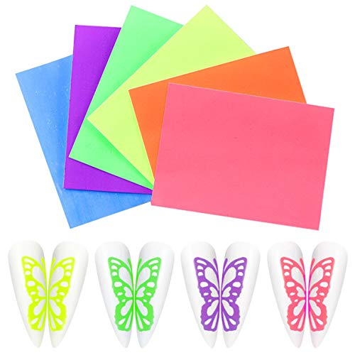 1 set Nail Multicolor Fluorescent Laser Butterfly Sticker 6-Color Set Adhesive Aurora Decal Beautify nails