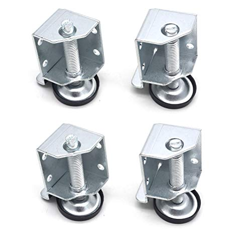 Antrader 2-1/3 inch Height 6000 LB Capacity Adjustable Heavy Duty Leveling Feet w/Corner Protector Guard Bracket for Furniture, Cabinets, Workbench, 4-Pack