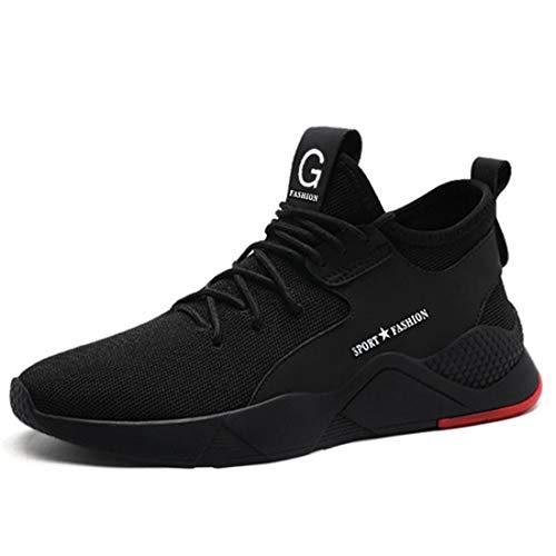 SROTER Zapatos de Seguridad para Hombres de Acero con Puntera Mujer Zapatillas de Seguridad Trabajo Deportivas Ligeras e Industriales Negro 43 EU