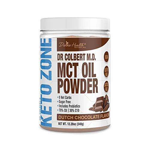 Dr. Colbert's Keto Zone MCT Oil Powder - Vegan - Dutch Chocolate Flavour - 348 Gram - 30 Servings