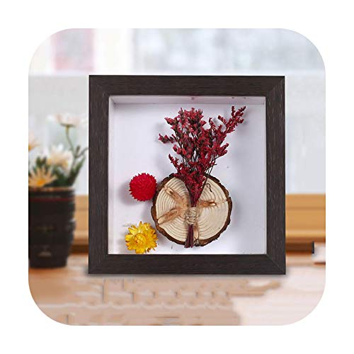 Frames 3D Wooden Photo Frame Hollow Depth 4.5Cm For Flowers,Art Crafts,Pins, Medals Dispaly,Frame Box For Memorabilia/Favorite Display-Walnut-Inner Size 15X15Cm
