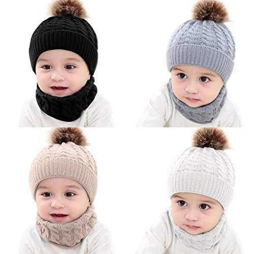 Evelove Baby Toddler Kids Boy Girl Winter Warm Knitted Crochet Beanie Hat Cap Scarf Sets