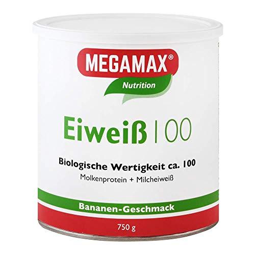 Megamax Eiweiss Banane 750 g   Molkenprotein + Milcheiweiß Für Muskelaufbau ,Diaet   2k-Eiweiss ideal zum Backen   hochwertiges Low Carb Eiweiß-Shake   aspartamfrei Eiweiß-pulver mit Aminosäuren
