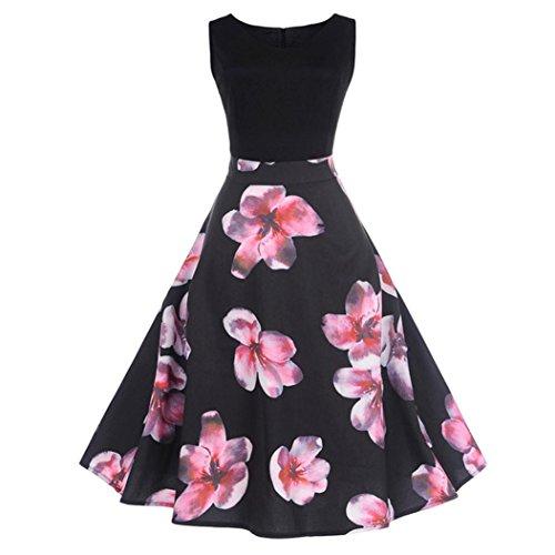 Goddessvan Women's Vintage 1950s Sleeveless Dress Floral Spring Garden Inspired Rockabilly Swing Dress (2XL, Black)