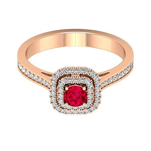Anillo solitario de rubí de 0,34 quilates, 1/2 quilates, diamante HI-SI, anillo doble halo, oro vintage (rubí redondo de 4 mm), 14K Oro rosa, Size:EU 65