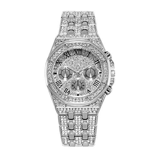 Tutti gli orologi di diamanti gli uomini Bling-ed Out rotonda in cristallo Luxury Iced out Watch bracciali Hip Hop Vogue Orologi Cinturino in acciaio inossidabile Argento/OroOro/rosa