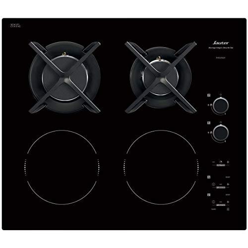 Sauter SPI6414BM - Plaque de Cuisson Mixte - Induction et Gaz - Encastrable - 4 Foyers - 3400W - L60 x P52cm - Revêtement verre - Noir - Fabrication Française