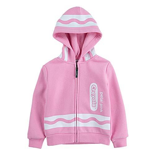 Crayola Children's Apparel Kids' Toddler Long Sleeve Fleece Full Zip Hooded Hoodie Sweatshirt, Petal Pink, 2T