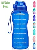Fidus Large Half Gallon/64oz Motivational Water Bottle with Time Marker & Straw,Leakproof Tritan BPA...