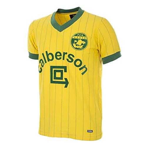 Copa FC Nantes 1982–83 T-Shirt rétro de Football à col en V pour Homme XL Vert/Jaune