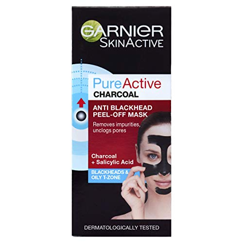Garnier Pure Active Anti-Blackhead Charcoal Peel-Off Face Mask 50ml, Unclog Pores & Remove Blackheads From Nose, Forehead & Chin, With Charcoal & Salicylic Acid, Dermatologically Tested