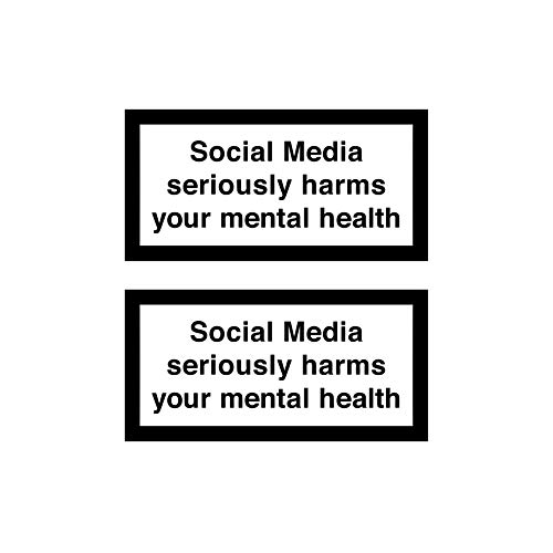 Social Media Seriously Harms Your mental Health - Sticker Aufkleber (z.B. für Smartphone oder Laptop) 6 cm x 3 cm - 2 Stück - Vinylsticker Hochwertig