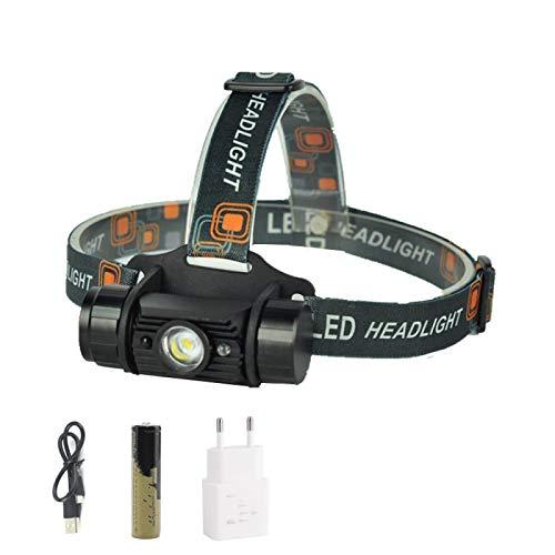 Linterna frontal LED de inducción con sensor de movimiento, foco recargable, antorcha para camping, caza