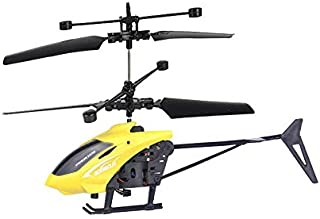 Elevin(TM) Mini RC Infraed Induction Helicopter Aircraft Flashing Light Toys, Boys and Girls Gift (Yellow)