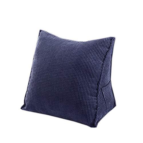 ACKW Keil Kissen Dreieckigen Rückenunterstützung,bettruhe Kissen Cord Kissen Mit Reißverschluss Und Taschen Für Bett Und Sofa Blau 55x28x55cm