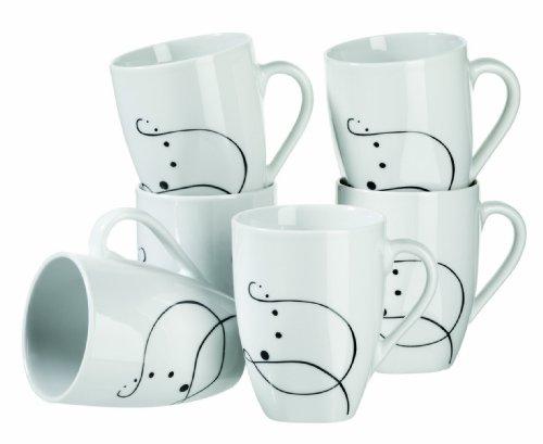 Mäser, Serie Chanson, Kaffeebecher, große Porzellan Tassen im 6-er Set