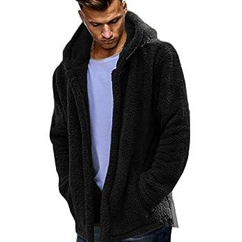 Mens Warm Winter Teddy Bear Fluffy Fur Hooded Cardigan Hoodie Fleece Jacket Coat  Black,XL