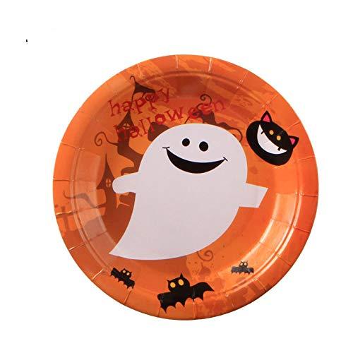 FQYYDD Vajilla desechable Halloween Party Supplies Papel Desechable Cubiertos Junta Calabaza Fantasma Y Bruja Diseño Cubiertos 10 Piezas Bandeja de Papel. 9
