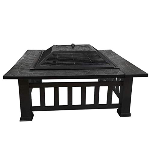 Lhh 3 In 1 Square Fire Pit Table for Camping Picnic Bonfire Patio Backyard Garden Beaches Park, with Waterproof Cover (Fire Pit & Grill)