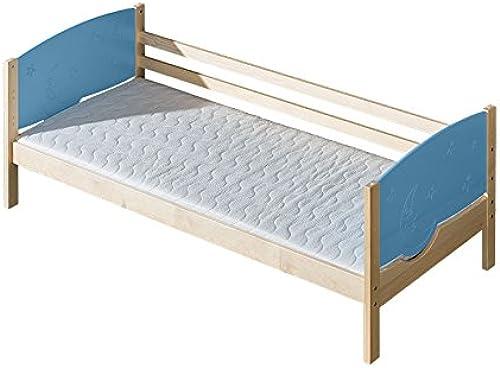Kinderbett   Jugendbett Milo 30, Farbe  Natur   Blau Mond und Sterne, teilmassiv - Liegefl e  80 x 190cm   (B x L)