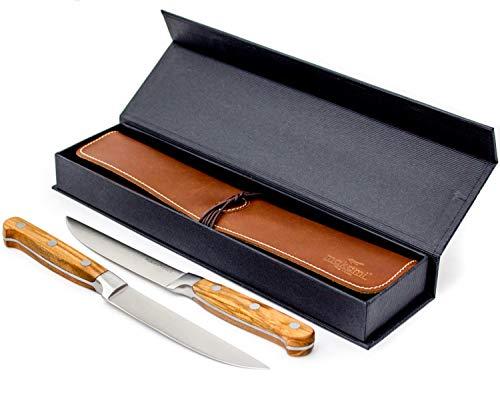 makami Steakmesser Olive Deluxe aus französischem Olivenholz mit scharfer, glatter Klinge im 2er-Set mit Lederetui