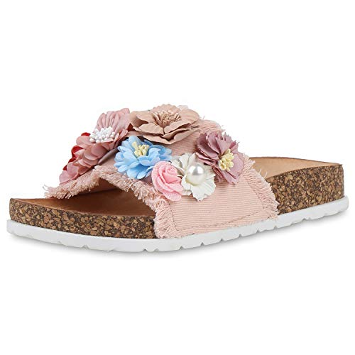 SCARPE VITA Damen Sandalen Pantoletten Blumen Kork-Optik Profilsohle Schuhe Hausschuhe Flache Freizeitschuhe Schlupfschuhe 193829 Rosa Blumen 39