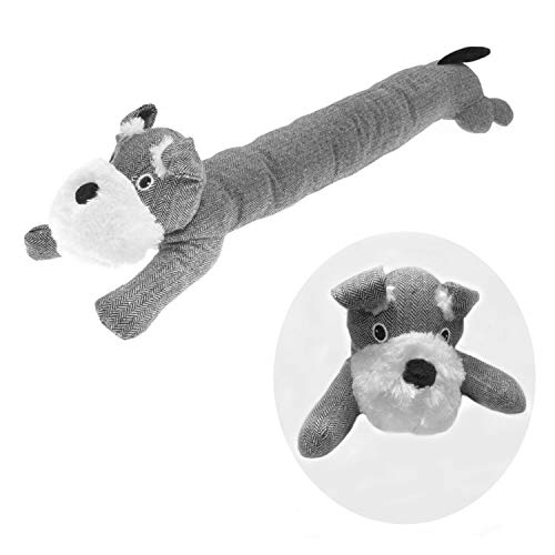 E&A Distribution Limited Draft excluder for door bottom Grey black dog Draught Excluders Door Stopper herringbone Fabric Material & Filling, Stitched, Velvety Soft long Draft Excluder cushion