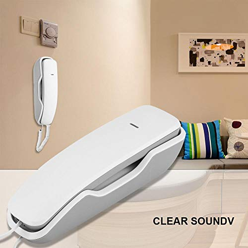 Rodipu Hanging Telephone, Last Number Wall Telephone, Mute Function Wall Phones, for House for Home(White)