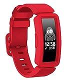 GVFM Correa compatible con Fitbit Ace 2 para niños 6, silicona suave, impermeable, accesorios de pulsera para niños y niñas, compatible con Fitbit Ace 2 (rojo)