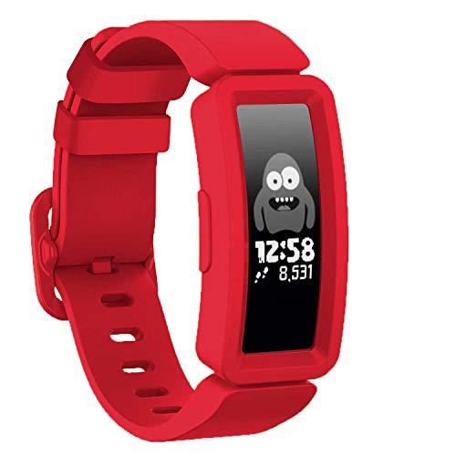 GVFM kompatibel mit Fitbit Ace 2 Bands für Kinder ab 6 Jahren, weiches Silikon, wasserdicht, Sport-Armband für Jungen und Mädchen, Armbänder kompatibel mit Fitbit Ace 2, rot