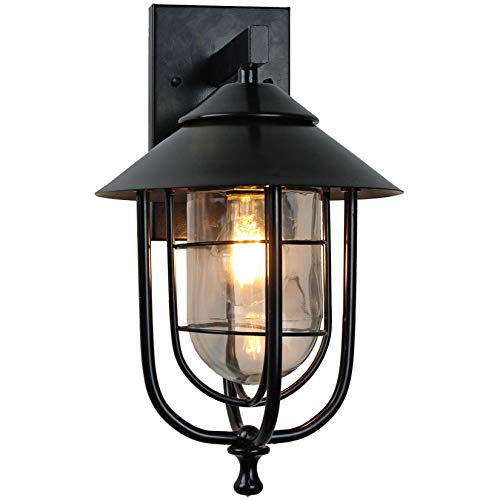 AIBOTY Outdoor Wall Lights E27,Black Birdcage Wall Lanterns,Exterior Wall Lights Fixture,Wall Mount Sconce Anti-Rust Waterproof,Wall Lamp with Clear Glass Shade for Doorway