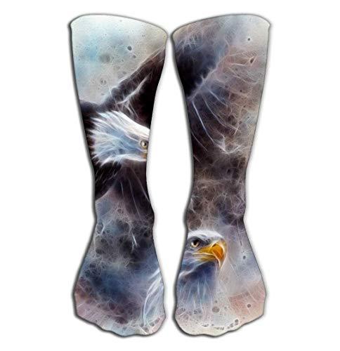 wonzhrui Outdoor-Sport Männer Frauen Hohe Socken Strumpf Symbol amerikanische Freiheit schöne Malerei Zwei Wilde Geist Adler Fraktur Airbrush eine Stretching Fliese