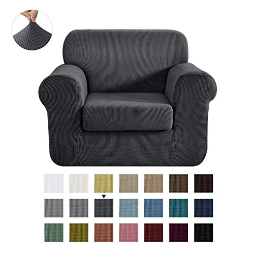 CHUN YI Stretch Chair Sofa Slipcover 2-Piece Couch Cover Furniture Protector, 1 Seater Coat Soft with Elastic Bottom, Checks Spandex Jacquard Fabric (Small, Gray)