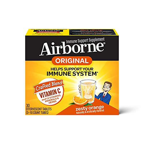Airborne Vitamin C 1000mg (per serving) - Zesty Orange Effervescent Tablets (30 count in a box), Gluten-Free Immune Support Supplement, With Vitamins A C E, Zinc, Selenium, Echinacea & Ginger