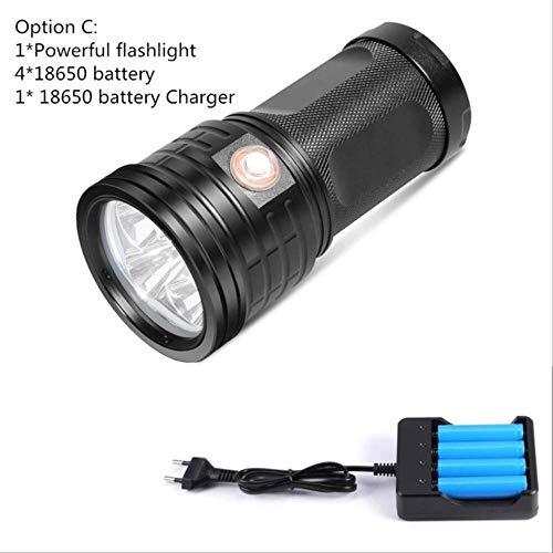 La plus puissante 18 * T6 LED Torche LED lampe de poche 3 Modes de chargement USB Linterna Portable lampe pour le chargement de téléphone Power Bank Option C