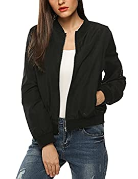 Zeagoo Womens Classic Quilted Jacket Short Bomber Jacket Coat Black X-Large
