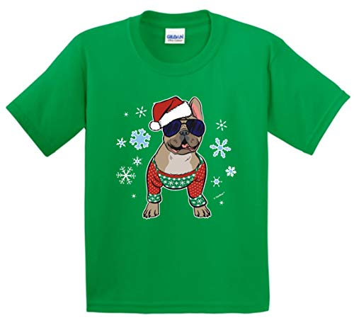 Dog Themed Gifts Dog Christmas Clothing Christmas Clothes Frenchie in a Christmas Sweater Youth T-Shirt Medium Green