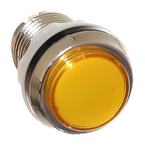 1 Yellow Button 33mm Taster Gelb für Spielautomat beleuchtet Rund Taster Mikroschalter mit LED Birnchen Player Pinball Neu Joy-Button