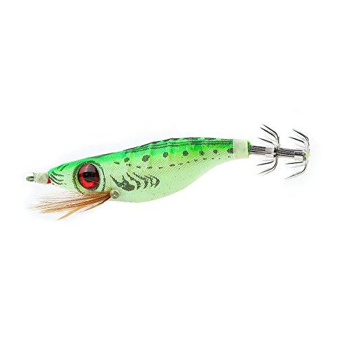 Esche da pesca alla pesca di seppie, ganci per esche artificiali a coda luminosa(Verde erba)