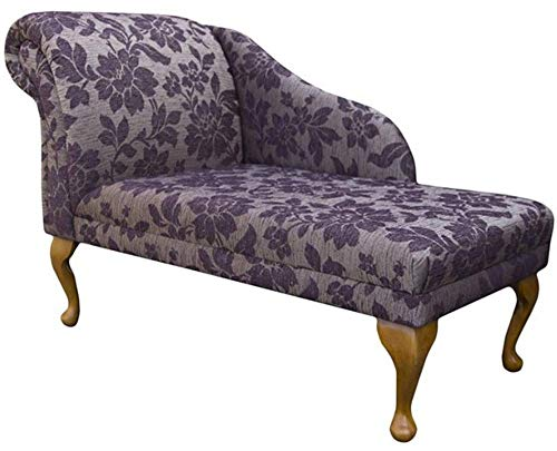 "45"" Chaise Longue - Chair Seat - Premium Conway Floral Damson Fabric - Left Facing With Queen Anne or Straight Tapered Legs"